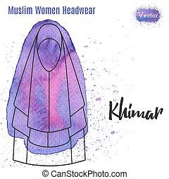 islámico, musulmán, hembra, casco