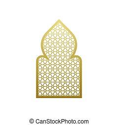 islámico, pattern., puerta, estilo, mezquita, árabe, vector, árabe, ramadan, ornamento, ventana