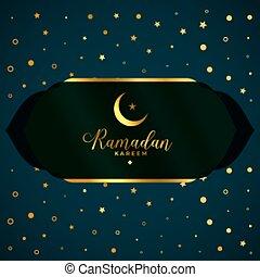 islámico, ramadan, kareem, tarjeta, estilo, dorado
