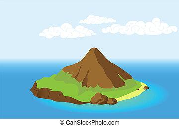 Isla con montaña