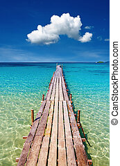 isla, de madera, kood, muelle, tailandia
