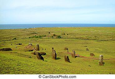 isla, moai, grupo, rano, océano, estatuas, visitantes, visitar, gigante, abandonado, inacabado, chile, pacífico, sitio, pascua, volcán, fondo, raraku