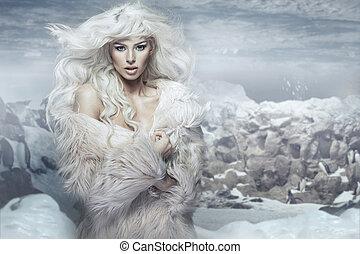 isla, reina, nieve, hielo