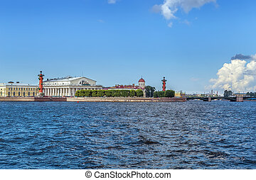 isla, rusia, petersburg, vista, santo, vasilievsky