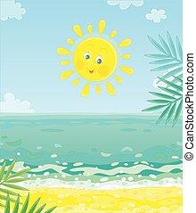 isla, sol, sonriente, tropical, encima