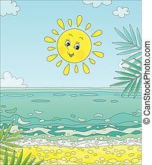 isla, sol sonriente, tropical, encima