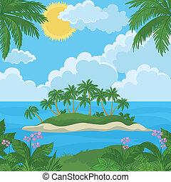 Isla tropical con palmas y flores