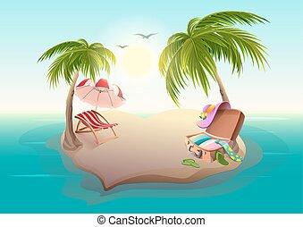 Isla tropical y palmeras