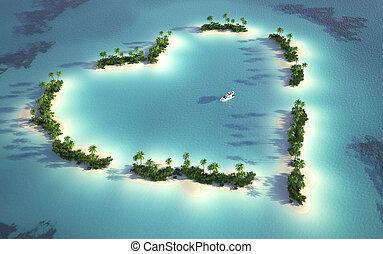 isla, vista, aéreo, en forma de corazón