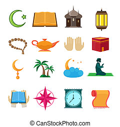 islam, conjunto, iconos