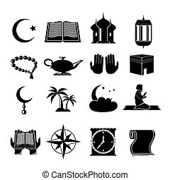 islam, conjunto, negro, iconos