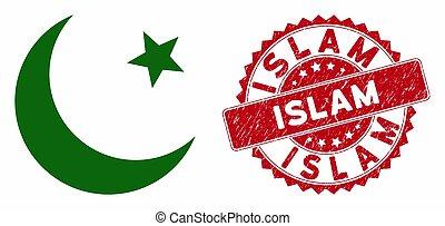 islam, musulmán, grunge, luna, icono de estampilla