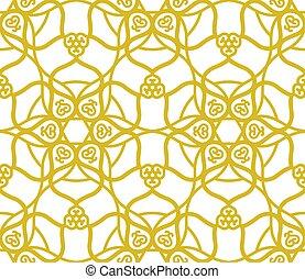 islam, ramadan, musulmán, patrón, motivo, árabe, floral, dorado