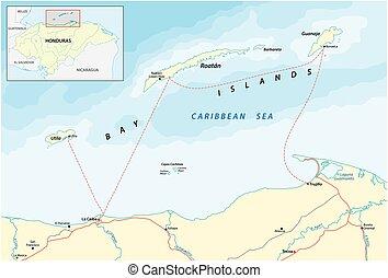 islas, bahía, honduras, caribe, mapa, vector