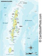 islas, indio, andaman, archipiélago, vector, mapa
