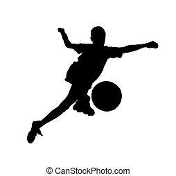 (isolated), footballer., pelota, niño, futbol