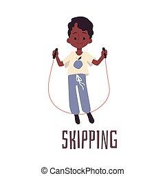 isolated., niño, ilustración, carácter, vector, saltar, caricatura, soga, plano