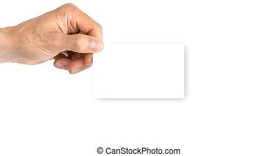 isolated., plantilla, arm., valor en cartera instrumentos de crédito, mano, empresa / negocio, vacío, persona, blanco, credito, aislado, fondo., tarjeta, blanco
