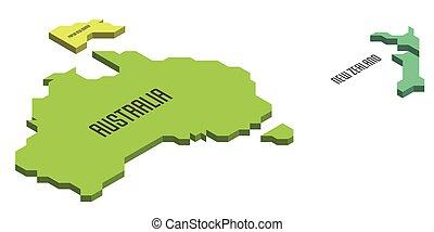 isométrico, australia, político, mapa