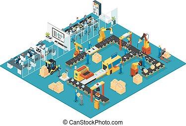isométrico, concepto, industrial, fábrica