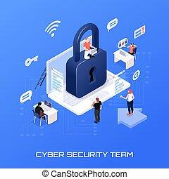 isométrico, concepto, seguridad, cyber