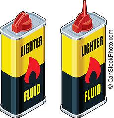 isométrico, encendedor, líquido, contenedores
