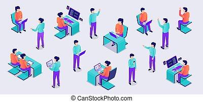 isométrico, escritorio, computador portatil, moderno, plano, personas trabajo, conjunto, oficina, estilo, colección