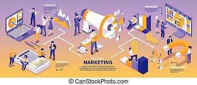 isométrico, estrategia, mercadotecnia, infographics