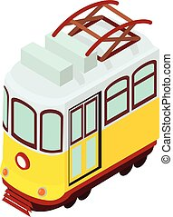 isométrico, icono, tranvía, estilo
