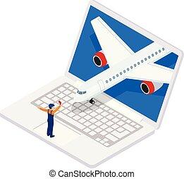 isométrico, illustration., empresa / negocio, oferta, viaje, aircraft., viaje, banner., travel., aire, vector, despegue, concept., especial
