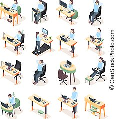 isométrico, lugar de trabajo, iconos, ergonómico