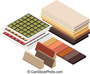 isométrico, materiales, construcción