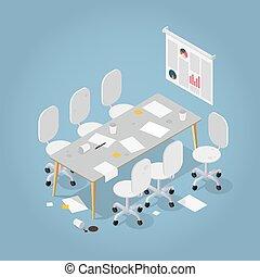 isométrico, oficina, desordenado, ilustración