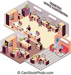 isométrico, oficina, lugaresde trabajo, ilustración