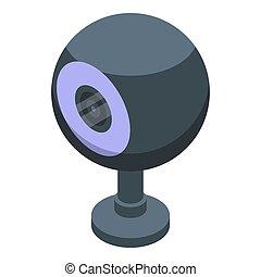 isométrico, tela, icono, esfera, estilo, cámara