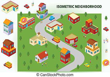isométrico, vecindad