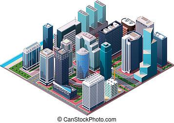 isométrico, vector, centro de la ciudad, mapa