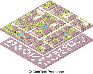 Isometría pequeña ciudad, creación de mapas