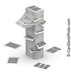 isometry, número, pilas, 1, papel, fuente, páginas, 3d