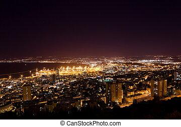 israel, haifa, monte, iluminación, noche, puerto, carmel, vista