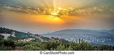 israel, mirada, panorámico, ocaso, durante, northen