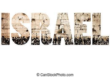israel, symbols., palabra, encima, nacional