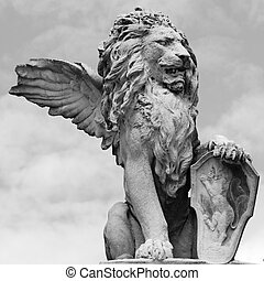 italia, cielo, aislado, veneto, veneciano, león, escultura, asolo
