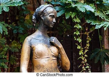 italia, ella, verona, casa, veneto, estatua, traspatio, capulet, juliet