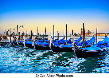 italia, fondo., venecia, gondole, góndolas, ocaso, iglesia, o