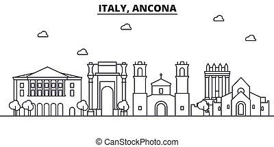 Italia, la línea de arquitectura de Ancona ilustración en el horizonte. Vector lineal Cityscape con puntos de referencia famosos, vistas de la ciudad, iconos de diseño. Landscape wtih derrames editables