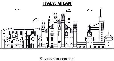 Italia, la línea de arquitectura de Milán ilustración en el horizonte. Vector lineal Cityscape con puntos de referencia famosos, vistas de la ciudad, iconos de diseño. Landscape wtih derrames editables