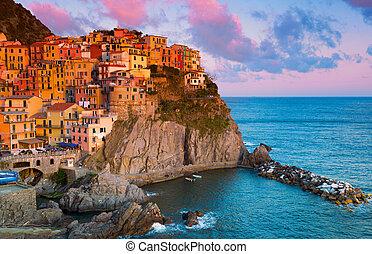 italia, pintoresco, laguria, manarola, ocaso, vista
