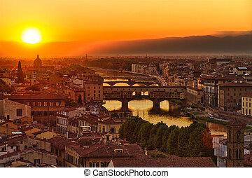 italia, ponte vecchio, florencia, río arno, ocaso