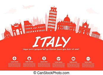Italia viaja en vector de puntos de referencia